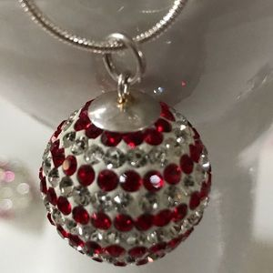 Jewelry - Ruby Red Rhinestone sphere Necklace
